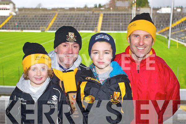 Dr Crokes fans at the UCC v Dr Crokes game in Fitzgerald Stadium on Sunday, from left: Dara O'Shea, John O'Shea, Cian O'Connor and Brendan O'Connor.