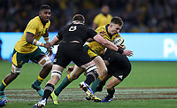 Nic White of the Wallabies looks to get past Kieran Read of the All Blacks during the Rugby Championship match between Australia and New Zealand at Optus Stadium in Perth, Australia on August 10, 2019 . Photo: Gary Day / Frozen In Motion