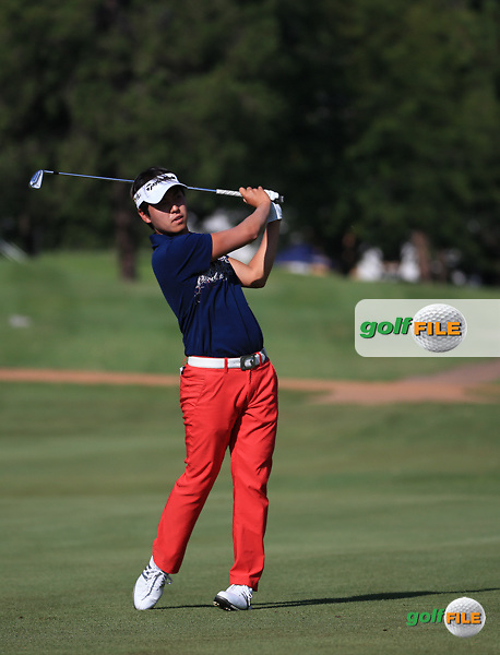 Daniel Im (USA) plays second shot to the last  during Round Three of the 2016 Tshwane Open, played at the Pretoria Country Club, Waterkloof, Pretoria, South Africa.  13/02/2016. Picture: Golffile | David Lloyd<br /> <br /> All photos usage must carry mandatory copyright credit (&copy; Golffile | David Lloyd)
