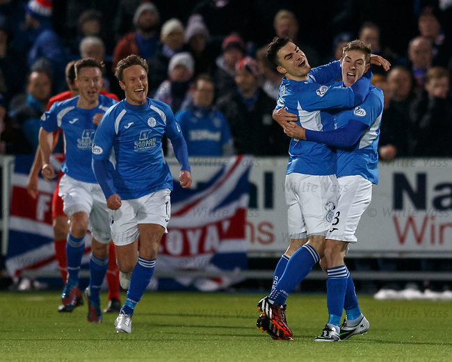 Kevin Holt (R) celebrates his goal for QOS