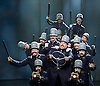 Mack and mabel <br /> Music and Lyrics by JERRY HERMAN Book by MICHAEL STEWART<br /> at the Festival Theatre, Chichester, Great Britain <br /> Press photocall <br /> 20th July 2015 <br /> <br /> <br /> The Keystone Cops <br /> <br /> <br /> <br /> Book revised by FRANCINE PASCAL<br /> <br /> <br /> Photograph by Elliott Franks <br /> Image licensed to Elliott Franks Photography Services