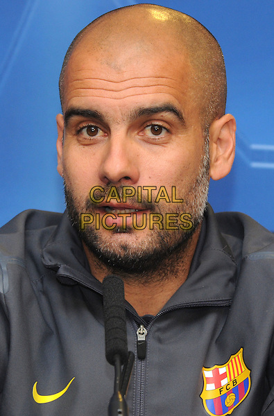 Josep 'Pep' Guardiola.Chelsea FC v Barcelona UEFA Champions League Press Conference,  Stamford Bridge, London, England..April 17th 2012.headshot portrait grey gray beard facial hair  .CAP/PP/BK.©Bob Kent/PP/Capital Pictures.