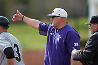High Point Panthers head coach Craig Cozart (18) goes over the grounds rules prior to the game against the Campbell Camels at Williard Stadium on March 16, 2019 in  Winston-Salem, North Carolina. The Camels defeated the Panthers 13-8. (Brian Westerholt/Four Seam Images)