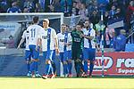 Magdeburg bejubelt Jan Glinker (Magdeburg, 1), Jubel &uuml;ber den Sieg, Jubel nach SpieleJubel &uuml;ber den Sieg, Jubel nach Spielende beim Spiel in der 3. Liga, 1. FC Magdeburg - Karlsruher SC.<br /> <br /> Foto &copy; PIX-Sportfotos *** Foto ist honorarpflichtig! *** Auf Anfrage in hoeherer Qualitaet/Aufloesung. Belegexemplar erbeten. Veroeffentlichung ausschliesslich fuer journalistisch-publizistische Zwecke. For editorial use only.