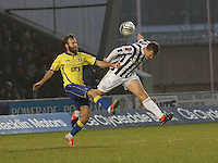 David Barron intercepts before James Dayton in the St Mirren v Kilmarnock Clydesdale Bank Scottish Premier League match played at St Mirren Park, Paisley on 2.1.13.