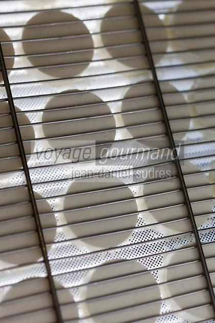 Europe/Europe/France/Midi-Pyrénées/46/Lot/Loubressac: Ferme Cazal-SARL Les Alpines - Production du Rocamadour AOC Fermier - les fromages frais moulés vont  partir sur des grilles pour l'affinage //<br /> France, Lot, Loubressac, labelled Les Plus Beaux Villages de France (The Most Beautiful Villages of France), Cazal Farm-Ltd The Alpine, Production of Rocamadour AOC Farmer, fresh cheeses are molded from wire racks for refining