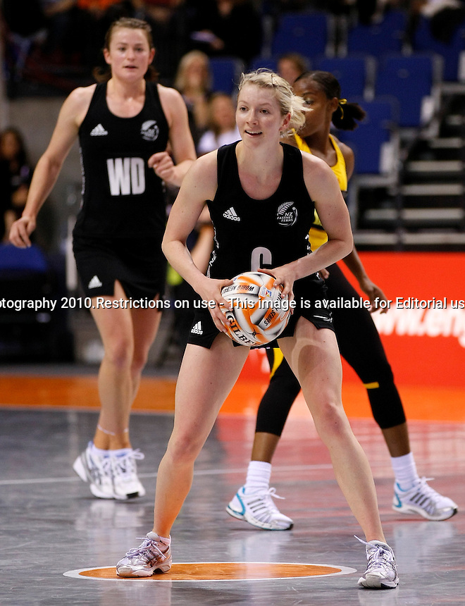 21.11.2010 The Silver Ferns' Camilla Thompson looks to pass against Jamaica during their World Netball Series semi final in Liverpool, England. Mandatory Photo Credit (Pic: Tim Hales). ©Michael Bradley Photography.