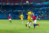 23rd March 2018, Ullevaal Stadion, Oslo, Norway; International Football Friendly, Norway versus Australia; Aziz Behich of Australia battles wins the header over Tore Reiniussen of Norway