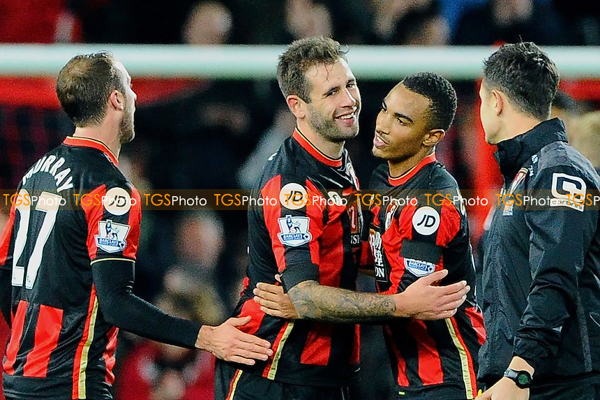Steve Cook of AFC Bournemouth and Junior Stanislas of AFC Bournemouth celabrate the historic win during AFC Bournemouth vs Manchester United at the Vitality Stadium