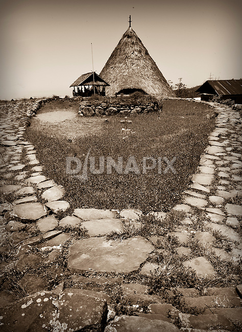 Sepia-toned rendition of a traditional home, Todo village, Manggarai, Flores