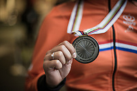 Ceylin Del Carmen Alvarado (NED-Iko Corendon) showing off her silver medal<br /> <br /> Women U23 Race<br /> UCI CX Worlds 2018<br /> Valkenburg - The Netherlands