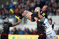 Schalk Burger of Saracens claims the ball in the air. Aviva Premiership match, between Saracens and Exeter Chiefs on November 26, 2017 at Allianz Park in London, England. Photo by: Patrick Khachfe / JMP