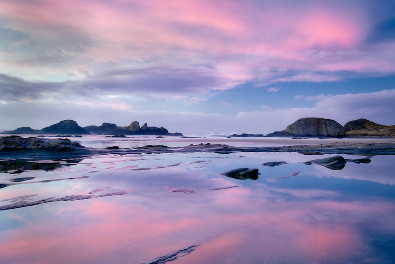 Sunset and reflection at Seal Rock, Oregon