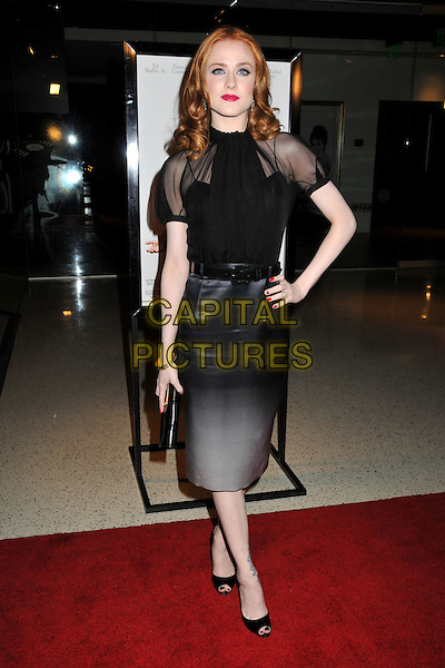 """EVAN RACHEL WOOD.""""Whatever Works"""" Los Angeles Premiere held at the Pacific Design Center, West Hollywood, CA, USA..June 8th, 2009.full length black sheer top grey gray silk satin skirt white faced dip dye peep toe shoes hand on hip clutch bag nail varnish polish .CAP/ADM/BP.©Byron Purvis/AdMedia/Capital Pictures."""