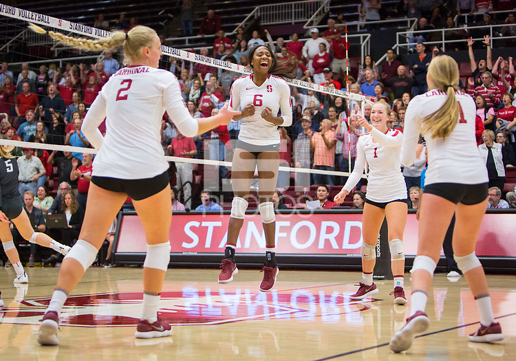 STANFORD, CA - October 12, 2018: Kathryn Plummer, Tami Alade, Jenna Gray, Kate Formico at Maples Pavilion. No. 2 Stanford Cardinal swept No. 21 Washington State Cougars, 25-15, 30-28, 25-12.
