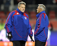 John Ellinger and Schellas Hyndman coaches of FC Dallas during MLS Cup 2010 at BMO Stadium in Toronto, Ontario on November 21 2010. Colorado won 2-1 in overtime.