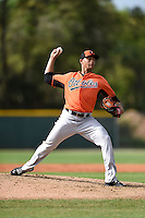 Pitcher Branden Kline (26) of the Baltimore Orioles organization during a minor league spring training camp day game on March 23, 2014 at Buck O'Neil Complex in Sarasota, Florida.  (Mike Janes/Four Seam Images)