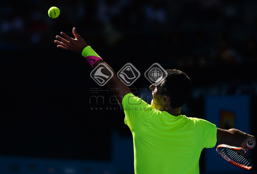 Bernard Tomic (AUS) round 1 action<br /> 2015 Australian Open Tennis <br /> Grand Slam of Asia Pacific<br /> Melbourne Park, Vic Australia<br /> Monday 19 January 2015<br /> &copy; Sport the library / Jeff Crow