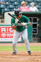 Alberto Robles (1) of the Augusta GreenJackets squares to bunt against the Greensboro Grasshoppers at NewBridge Bank Park on August 11, 2013 in Greensboro, North Carolina.  The GreenJackets defeated the Grasshoppers 6-5 in game one of a double-header.  (Brian Westerholt/Four Seam Images)