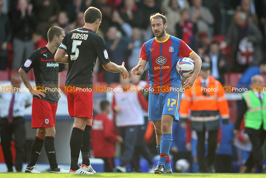 Glenn Murray of Crysrtal Palace grabs the ball at the end of the game after scoring his hatrick - Crystal Palace vs Cardiff City - NPower Championship Football at Selhurst Park, London - 22/09/12 - MANDATORY CREDIT: George Phillipou/TGSPHOTO - Self billing applies where appropriate - 0845 094 6026 - contact@tgsphoto.co.uk - NO UNPAID USE.