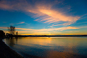 Sunset over Lake Taupo at the Tauranga Taupo river mouth, Lake Taupo, North Island, New Zealand