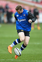 Chris Cook of Bath Rugby during the pre-match warm-up. Anglo-Welsh Cup Final, between Bath Rugby and Exeter Chiefs on March 30, 2018 at Kingsholm Stadium in Gloucester, England. Photo by: Patrick Khachfe / Onside Images
