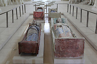 Royal Plantagenet tombs in the nave of the Abbey Church at Fontevraud Abbey, Anjou, France. These are the effigies of King Henry II of England, Eleanor of Aquitaine, King Richard I of England the Lionheart and Isabella of Angouleme. The Plantagenet rulers were benefactors of the monastery. Fontevraud Abbey was founded in 1100 by Robert of Arbrissel and became a double monastery for both monks and nuns, led by an Abbess. The Order was dissolved during the French Revolution. Picture by Manuel Cohen