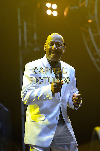 Errol Brown.Hot Chocolate performing live in concert as part of the Once In A Lifetime Tour, Wembley Arena, London, England, England..11th November 2012.on stage in concert live gig performance performing music half length white suit  .CAP/MAR.© Martin Harris/Capital Pictures.