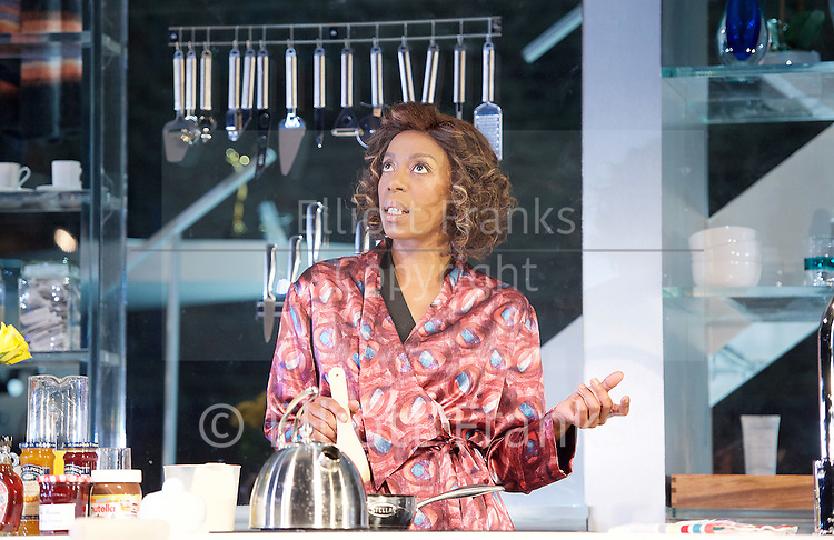 Linda <br /> by Penelope Skinner <br /> directed by Michael Longhurst <br /> at The Royal Court Theatre, London, Great Britain <br /> 30th November 2015 <br /> <br /> Nova Dumezweni as Linda <br /> <br /> <br /> <br /> Photograph by Elliott Franks <br /> Image licensed to Elliott Franks Photography Services