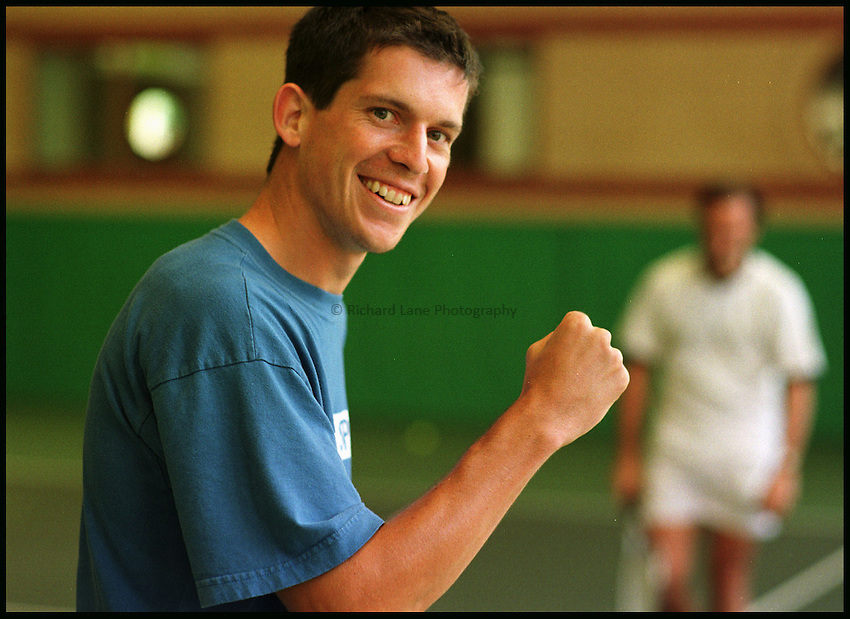 Photo: Phil Brown.Tim Henman celebrates winning a game against McGowan at Queens' Club.