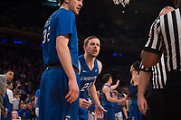 NEW YORK, NY - Thursday March 9, 2017: Isaiah Zierden (#21) of Creighton questions a call as his bluejays take on Providence in the Quarterfinals of the Big East Tournament at Madison Square Garden.