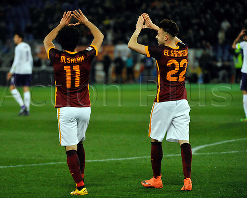 04.03.2016. Stadium Olimpico, Rome, Italy.  Serie A football league. AS Roma versus Fiorentina. Salah and El Shaarawi celebration togheter
