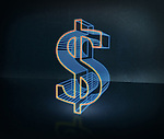 Illustrative image of three dimensional dollar sign over black background