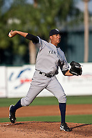 Hector Noesi (19) of the Tampa Yankees during a game vs. the Lakeland Flying Tigers May 15 2010 at Joker Marchant Stadium in Lakeland, Florida. Tampa won the game against Lakeland by the score of 2-1.  Photo By Scott Jontes/Four Seam Images