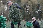 Foto: VidiPhoto<br /> <br /> OENE &ndash; De kerstboom van 2017 moet helemaal perfect zijn. Bovendien is &eacute;&eacute;n niet meer voldoende. De consument wil er twee. Dat constateert operationeel manager Gerrit Tessemaker van boomkwekerij De Buurte. Nu een groot deel van de bestellingen binnen is, worden dinsdag de eerste kerstbomen op een perceel bij Oene (Veluwe) machinaal geoogst. Daarmee wordt tijd en personeel bespaard. Tot voor kort werden de kerstbomen met de hand &lsquo;gestoken&rsquo;. Volgens Tessemaker wordt de consument steeds kritischer. Amateurkwekers raken de bomen dan ook steeds moeilijker kwijt, omdat het jaarlijkse onderhoud voor perfecte bomen veel tijd en deskundigheid vraagt. Doordat de consument alleen nog maar het allerbeste wil, worden kerstbomen steeds vroeger geleverd aan de tuincentra. Wie het eerst komt, heeft de mooiste bomen. Naar verwachting staan de eerste kerstbomen ruim voor Sinterklaas al te koop. De Buurte is met 60 ha. en een jaarlijkse productie van 80.000 kerstbomen de grootste kerstbomenleverancier van ons land. Ruim 90 procent is bestemd voor de binnenlandse markt.