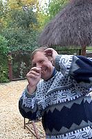 Polish man laughing for the photographer.  Sadykierz  Poland