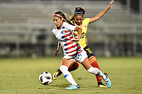 Lakewood Ranch, FL - Wednesday, October 10, 2018:   Samantha Meza, Maireth Perez R. during a U-17 USWNT match against Colombia.  The U-17 USWNT defeated Colombia 4-1.