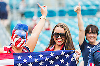 June 07, 2014:   the United States of America fans cheer during action between the USA Men's National Soccer team and Nigeria at EverBank Field in Jacksonville, Florida.  This is the last match before the USA team leaves for Brazil and the 2014 World Cup Championships.
