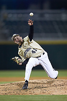 Wake Forest Demon Deacons relief pitcher Jared Shuster (41) delivers a pitch to the plate against the Charlotte 49ers at BB&T BallPark on March 13, 2018 in Charlotte, North Carolina.  The 49ers defeated the Demon Deacons 13-1.  (Brian Westerholt/Four Seam Images)