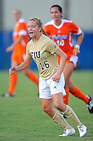 21 August 2011:  FIU's Nicole DiPerna (16) shouts to a teammate in the first half as the University of Florida Gators defeated the FIU Golden Panthers, 2-0, at University Park Stadium in Miami, Florida.