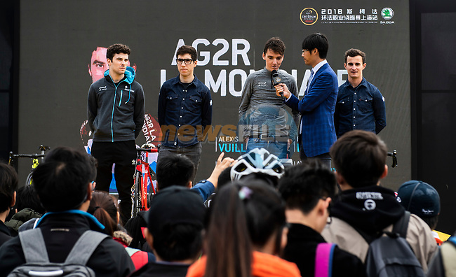 AG2R La Mondiale at the team presentation before the start of the 2018 Shanghai Criterium, Shanghai, China. 17th November 2018.<br /> Picture: ASO/Alex Broadway | Cyclefile<br /> <br /> <br /> All photos usage must carry mandatory copyright credit (© Cyclefile | ASO/Alex Broadway)