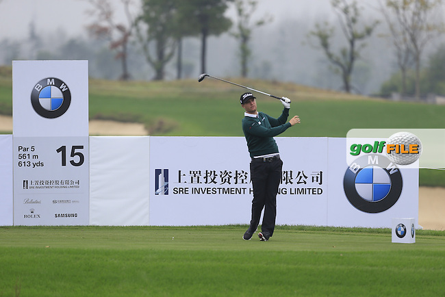 Lucas Bjerregaard (DEN) on the 15th tee during Round 2 of the BMW Masters at Lake Malaren Golf Club in Boshan, Shanghai, China on Friday 13/11/15.<br /> Picture: Thos Caffrey   Golffile<br /> <br /> All photo usage must carry mandatory copyright credit (&copy; Golffile   Thos Caffrey)