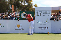 Webb Simpson (USA) on the 17th tee during the First Round - Four Ball of the Presidents Cup 2019, Royal Melbourne Golf Club, Melbourne, Victoria, Australia. 12/12/2019.<br /> Picture Thos Caffrey / Golffile.ie<br /> <br /> All photo usage must carry mandatory copyright credit (© Golffile | Thos Caffrey)