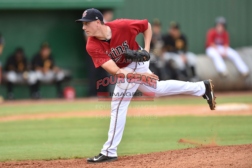 Elizabethton Twins pitcher Keaton Steele #20 delivers a pitch during a game against the  Bristol Pirates at Joe O'Brien Field June 30, 2014 in Elizabethton, Tennessee. The Twins defeated the Pirates 8-5 in game one of a double header. (Tony Farlow/Four Seam Images)