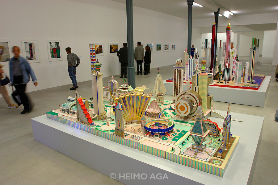 "Bodys Isek Kingelez/Congo, ""Kimbembele Ihunga (Kimbeville)"" (1994).Kulturbahnhof exhibition site.."