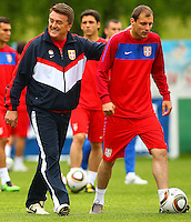27 05 2010  2010 FIFA World Cup preperations, Serbia in training Leogang, Austria. Picture shows Team boss Radomir Antic and Milan Jovanovic Srb