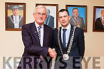 Outgoing Mayor of Kerry Pat McCarthy congratulates Cllr. John Francis Flynn after he was elected Mayor of South and West Kerry Municipal District on Monday afternoon in County Buildings.