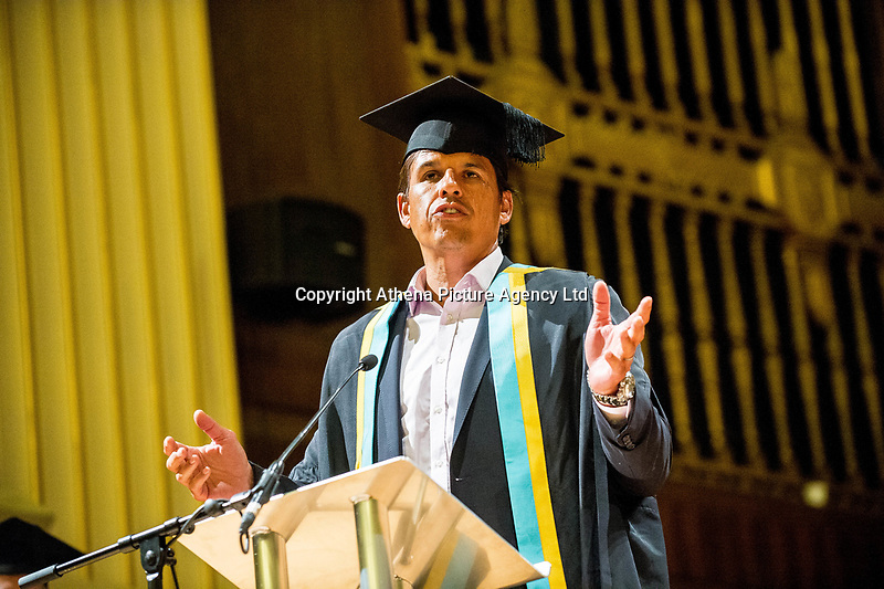 """Monday 10 July 2017<br /> Pictured: Chris Coleman Receiving his Honorary Fellowship<br /> Re: Wales Football Manager, Chris Coleman was today (Monday, July 10th) awarded an Honorary Fellowship by the University of Wales Trinity Saint David (UWTSD) during the first of its Swansea graduation ceremonies in the city's Brangwyn Hall. <br /> Chris Colman 2<br /> <br /> On receiving the award, Chris Coleman said:  """"I've failed as many times as I've achieved but it's not about that, it's about self-belief and perseverance.   You'll have so many doubters along the way - if you haven't got belief in yourself you don't go a long way.  If you haven't got perseverance, your talent doesn't get you through.  If you think you can't, you won't.<br /> <br /> """"Everything I've ever achieved, I've had good people around me.  We've got a good saying, I can't but we can.  Make sure the 'we' are the people you want around you.<br /> <br /> """"With us, I'm the front man, I'm the one who speaks to the media; I pick the team and make the big decisions but I've got a team of people around me to help me with almost everything so I have to delegate well and listen to the good advice.  Surround yourself with good people.  Never be in a comfort zone or you won't achieve anything.<br /> <br /> """"I'm not telling you this because I read it in a book; because I saw it on TV or because someone told me.  I'm telling you because it's my experience."""""""