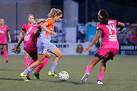 Rochester, NY - Saturday Aug. 27, 2016: Lynn Williams, Morgan Brian, Jessica McDonald during a regular season National Women's Soccer League (NWSL) match between the Western New York Flash and the Houston Dash at Rochester Rhinos Stadium.