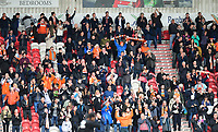 Blackpool fans during the second half<br /> <br /> Photographer Chris Vaughan/CameraSport<br /> <br /> The EFL Sky Bet League Two - Doncaster Rovers v Blackpool - Keepmoat Stadium - Doncaster<br /> <br /> World Copyright &copy; 2017 CameraSport. All rights reserved. 43 Linden Ave. Countesthorpe. Leicester. England. LE8 5PG - Tel: +44 (0) 116 277 4147 - admin@camerasport.com - www.camerasport.com
